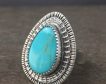 Turquoise ring - size 6.5 ring - campitos turquoise ring - turquoise jewelry - large stone ring - sterling silver ring - unique ring