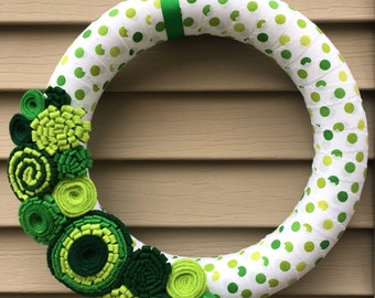 St. Patrick's Day Wreath - St. Patricks Day - Felt Flower Wreath - Shamrock Wreath - Green Wreath - Ribbon Wreath - St. Patricks Day Decor