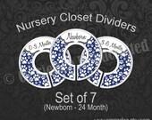 Navy Paw Print Nursery Closet Dividers, Paw Baby Closet Dividers, Cat Theme Nursery Decor, Dog Nursery, Paw Print Theme