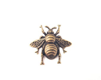 Big bumble bee charms pendnats, brass plated (extra large), Pick your amount, D89