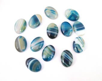 Blue Agate Cabochons 18x25mm A245