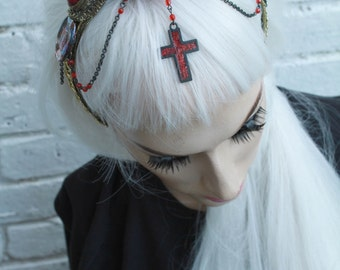 Encrusted Heart Red Cross Chain Headband