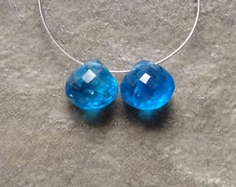 AA Electric Blue Apatite Faceted Heart Briolette - 6mm - Matched Pair