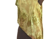 megasuperearthendrape: eccentric draped asymmetric tunic in hand dyed earthy greens bronzes and copper browns