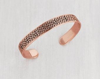 Vintage Copper Celtic Cuff Bracelet - interwoven braid knot design - by Peter Stone PSCL - Men's or plus size women's