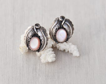 Vintage Navajo Stud Earrings - 925 sterling silver leaf design with pink mother of pearl shell - Southwestern Native American