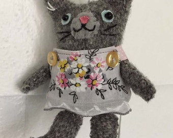 Mini Cat Doll Ornament, Grey Kitty with Jointed Arms, Vintage Wool Kitten & Cotton Dress, SARAH