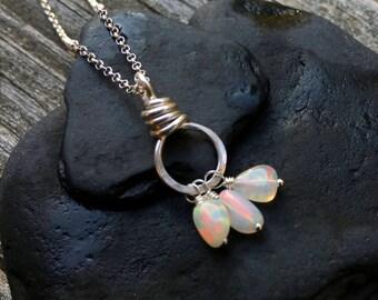 Genuine Opal Gemstone Pendant, Sterling Silver Necklace, October Birhstone, Welo Opal Gem Nugget, Handmade Jewelry, Bright Fire, Wire Wrap