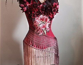 Ready to Wear Red Silk Bordello Boudoir Corset with Flowers and Feathers by Louise Black