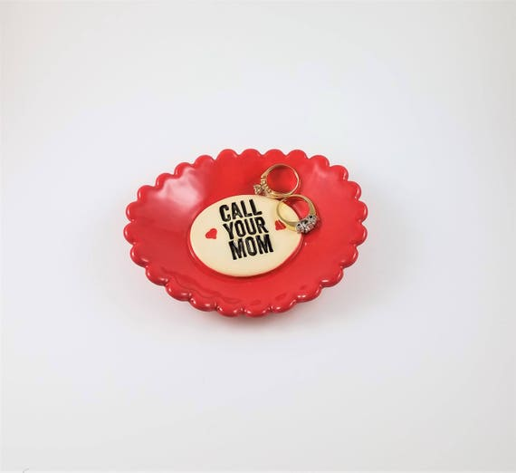 Call Your Mom - Ceramic Dish - Inspirational Art - Stocking Stuffer - Trinket Dish - Ring Dish - Gift for Son - Gift for Daughter - Red