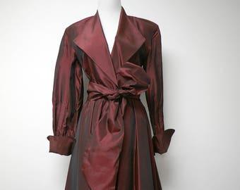 "Andrea Jovine . 90s burgundy overlap dress . size 6 .  34"" bust"