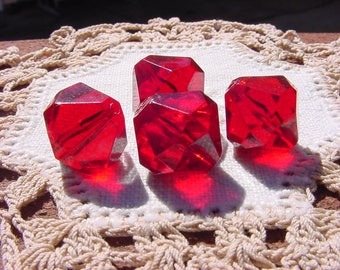 Garnet Red Facetted Bicones Vintage Lucite Beads