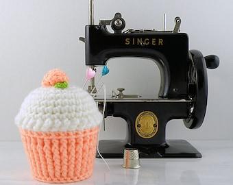 Peach Cupcake Pincushion, Crocheted Cupcake