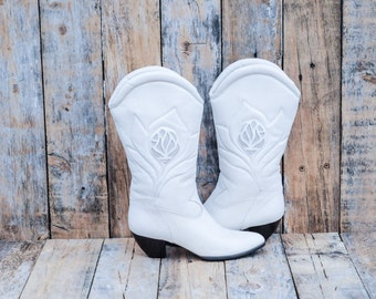 Ivory Leather Boots, Us 6 1/2, Uk 4.5, Eu 37, White Leather Boots, Cream Cowboy Boots, Womens Cream Boots, MADE in ITALY, Ivory Leather Boot