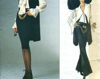 Vogue 1186 DONNA KARAN New York American Designer Vest Tapered Skirt Wide Pants Size 8 - 10 - 12