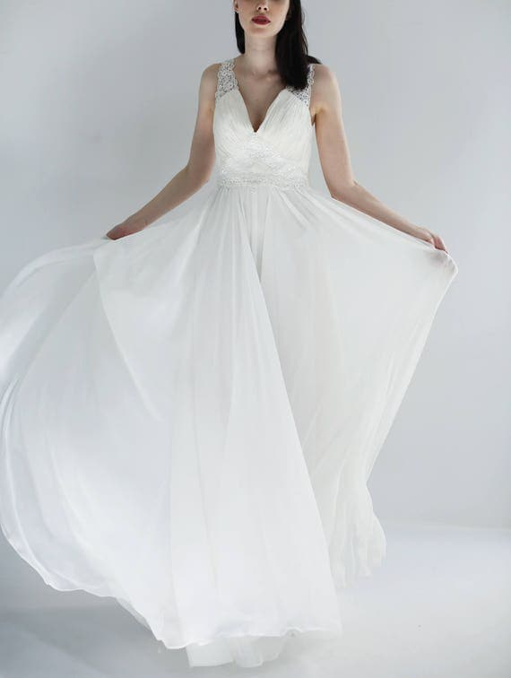 Open Backed Silk Gown with Lace trim--Sample Sale