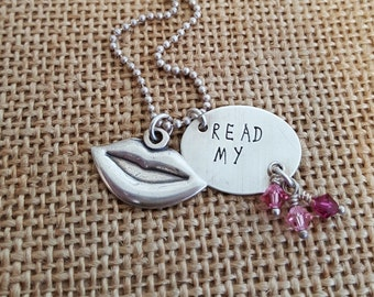Read my - hand stamped necklace