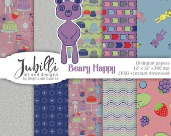 Happy Bears Digital Paper, 12x12 Digital Paper, Gelatin digital, Fruity digital, Jelly Molds digital, Bear digi, Scrapbooking, Papercraft
