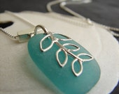 Sea Vine sea glass necklace in teal  /  seaglass necklace  /  beach glass necklace  /  sea glass jewelry