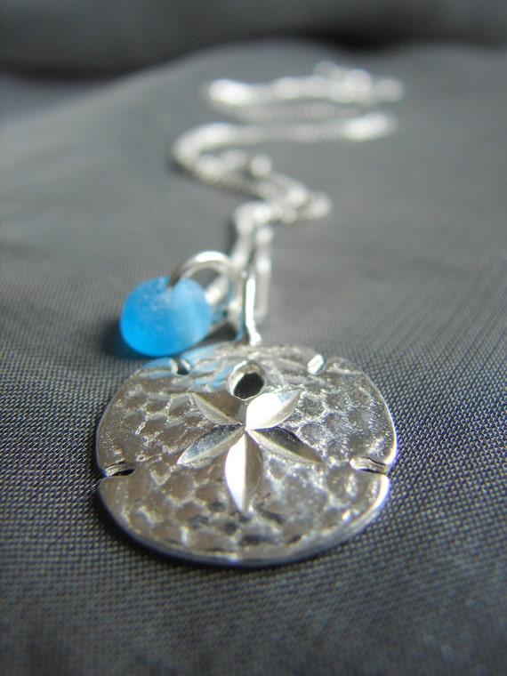 Little Sand Dollar sea glass necklace
