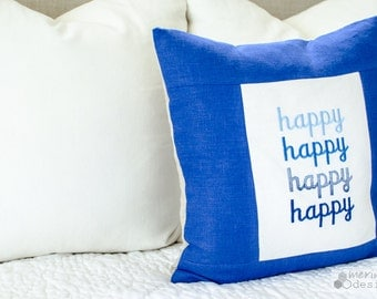 Bue Linen Happy Pillow Cover
