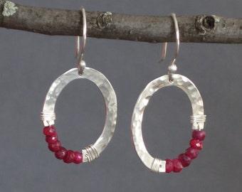 Ruby Earrings, Small Silver Oval Earrings, Organic Oval, July Birthstone, Birthstone Earrings