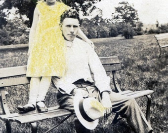 vintage photo 1929 Little Girl Gia Hand Colors Snapshot of Her & DAddy