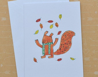 Illustrated Squirrel Card