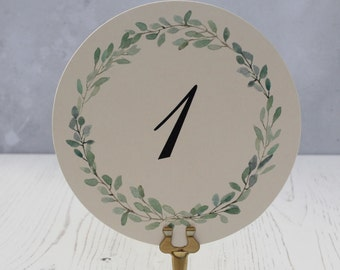 Water Color Wedding Table Numbers - Spring Table Number Card -  Round Table Numbers - Green Wreath Table Number