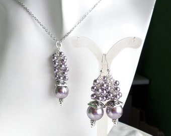 Mauve Necklace, Mauve Earrings, Mauve Purple Pearl Necklace Earrings, Swarovski Purple Pearl Necklace Earrings Set, Silver Pearl Necklace