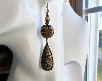Tiger Eye Long Gem Earrings, Antique Brass Brown Tiger Eye Earrings, Tigereye Long Earrings, Bohemian Long Brass Earrings, Gypsy Earrings