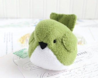 Plushie Light Green Fleece Bird Stuffed Animal Childrens Handmade Plush Toy Stuffie