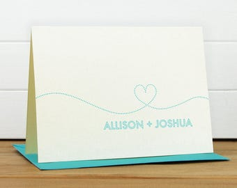 Personalized Stationery Set / Personalized Stationary Set - SMITTEN Custom Personalized Note Card Set - Heart Couples Wedding Thank You