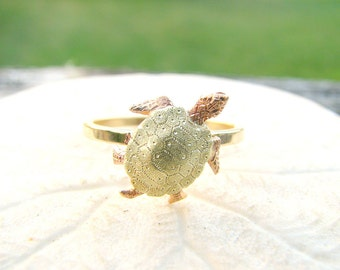 Sea Turtle Gold Ring, Beautifully Detailed Vintage Antique Stickpin Conversion, 14K Rose, Yellow and Green Gold, Charming & Sweet