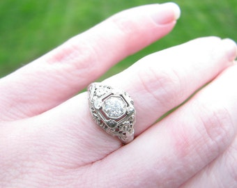 Art Deco Diamond Engagement Ring, Super Fiery Fine Quality Old European Cut Diamond, appr .40 ct, Sweet Flower Blossoms & Intricate Filigree