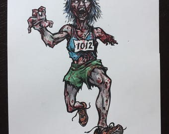 Zombie Marathon Runner original ink and watercolor painting