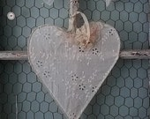 Shabby Chic Heart made of Vintage Lace and Pink Flowers for Brides Wedding Chair, Flower Girl, Shower, Nursery, & Home Decor