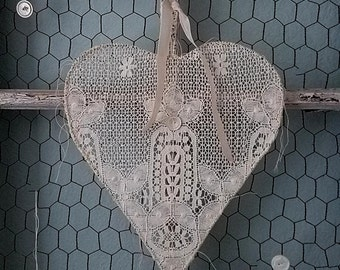 Love Stitched Heart - Guinevere - Shabby Chic Romantic Wire Heart with Vintage Lace for Valentine's Day, Wedding, Nursery, and Home Decor