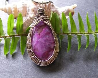 Gorgeous Jasper Gemstone Pendant sterling weave Purple