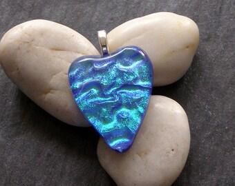 Blue green fused glass heart pendant