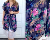 1990's Silky Robe / Women's Small Medium / Intimates / Sheer / Night gown nightgown / Sash tie /Floral lingerie / Sheer See Through Sexy