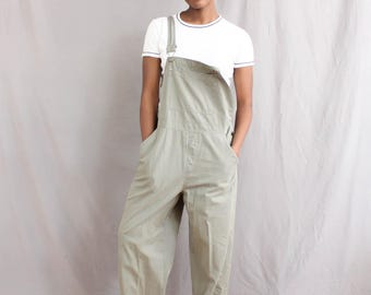 90's Olive Green Cargo Overalls in Large / XL . Overall Pants . Plus Size Overalls . Green 1990s Cherokee