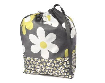 Knitting Project Bag, Project Bag, Sock Knitting Bag, Crochet Bag, Flower Bag