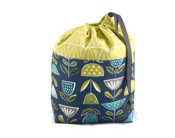 Sock Project Bag, Drawstring Knitting Bag, Crochet Bag, WIP Bag