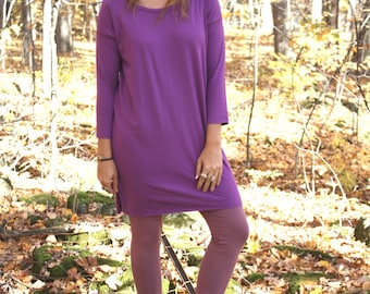 Simple 3/4 Sleeve T-shirt Dress in Bamboo Jersey / by replicca / size small to xlarge / your choice of colour