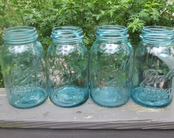 Four Vintage Blue Quart Mason Jars With Zinc Lids - Vintage Wedding Vases/ Candle Lights - Kitchen Storage
