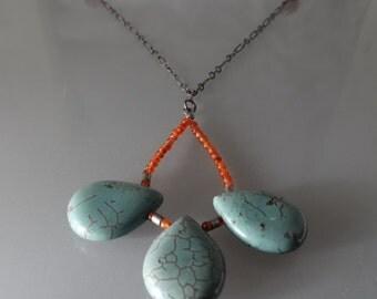 "sea green howlite drops,  rain drop, tiny carnelian seed bead, 28"" sterling silver chain, long necklace"