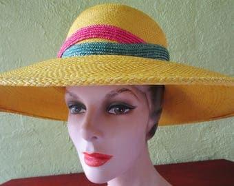 Sunny Yellow Frank Olive Neiman Marcus Straw Wide Brim Hat Sun Beach Derby Church Easter Fushia