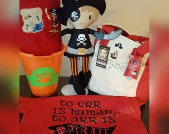 """Custom Handmade Pirate XL 18"""", LG 15"""" or Med 11"""" Doll or Gift set. Each is unique, one of a kind! Doll is Fully washable! Choose options!"""