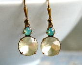 Frosted white glass and light green opal dangle earrings,small dangle earrings,boho dangle earrings. Tiedupmemories